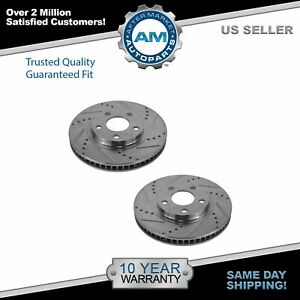 Nakamoto Brake Rotor Drilled Slotted Front Coated Pair For Chevy Buick Cadillac