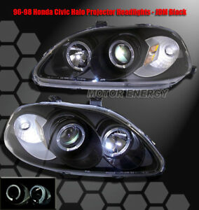 96 97 98 Honda Civic Halo Projector Headlights Lamp Black Coupe Hatchback Sedan