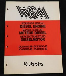 Original Kubota D3000 b D3200 b V4000 b V4300 b Diesel Engine Repair Manual Nice