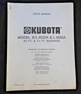 Genuine Kubota B L Series Tractor 4520a 4530a Backhoe Parts Catalog Manual