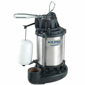 Blue Angel Pumps 1 2 Hp Stainless Steel Cast Iron Submersible Sump Pump W