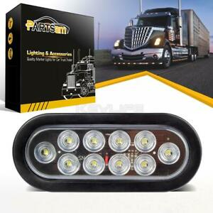 White 6 Led Oval Stop Turn Tail Backup Light Clear Lens Truck Trailer Clearance
