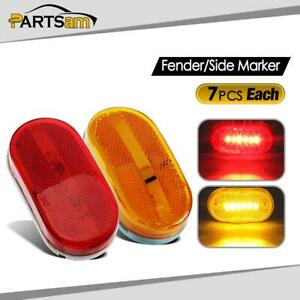 14x Red Amber 4 Led Clearance Marker Trailer Rv Light 6 Diodes Surface Mount