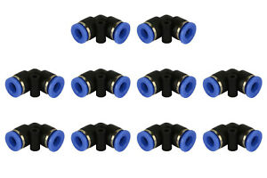 10 Piece Pneumatic Air Quick Push To Connect Fitting 1 4 Od l Elbow Tube 6mm