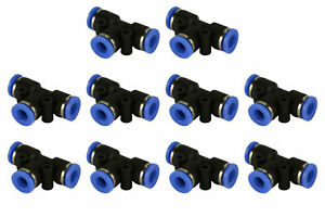 10 Piece Pneumatic Air Quick Push To Connect Fitting 1 4 Od t Tee Tube 6mm