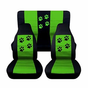 Front Rear Black Lime Green Seat Covers Fits 1997 2002 Jeep Wrangler Paw Prints