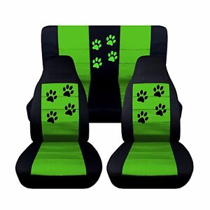 Front Rear Black And Lime Green Seat Covers 1997 2002 Jeep Wrangler Paw Prints