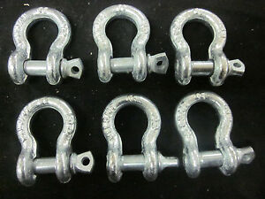 6 5 16 Bow Shackle Anchor Pin D Ring Chain Recovery Tow Marine Boat 1500lb