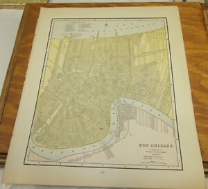 1890 Antique Color Map New Orleans Louisiana B W San Francisco California