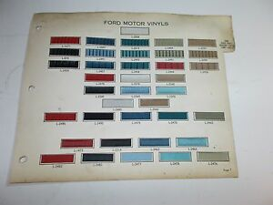 1965 Ford Motor Rare Original Vinyl Fabric Samples Headlining Samples