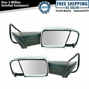 Mirror Power Folding Heated Memory Turn Signal Puddle Chrome Towing Pair For Ram