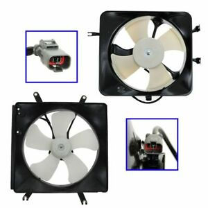 Ac Condenser Radiator Cooling Fan Assembly Pair Set For Acura Integra