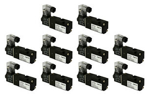 10x 12v Dc Solenoid Air Pneumatic Control Valve 3 Port 3 Way 2 Position 1 8 Npt