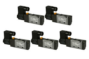5x 24v Dc Solenoid Air Pneumatic Control Valve 5 Port 4 Way 2 Position 1 4 Npt