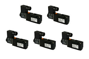 5x 24v Ac Solenoid Air Pneumatic Control Valve 3 Port 3 Way 2 Position 1 4 Npt