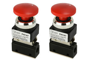 2x Latching Push Button Pneumatic Control Valve 2 Port 2 Way 2 Position 1 8 Npt