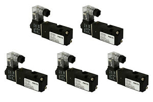 5x 12v Dc Solenoid Air Pneumatic Control Valve 3 Port 3 Way 2 Position 1 8 Npt
