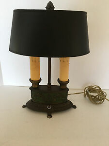 Bradley Hubbard Bouillotte Table Lamp 2 Candle With Black Paper Shade