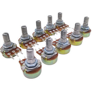 Us Stock 10pcs 100k Ohm Linear Taper Rotary Potentiometer Panel Pot B100k 15mm