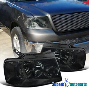 For 2004 2008 Ford F150 Euro Style Headlights Smoke Pair W Clear Reflector