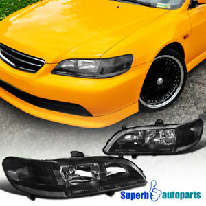 For 1998 2002 Honda Accord 2d 4d Jdm Headlights Head Lamps Black