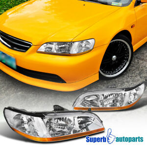 For 1998 2002 Honda Accord Headlights Head Lamps Pair Replacement
