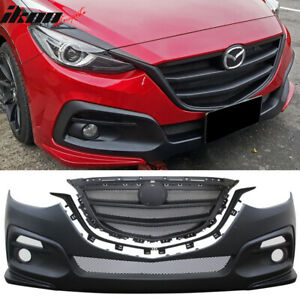 Fits 14 16 Mazda 3 Ks Style Black Front Bumper Conversion With Grille