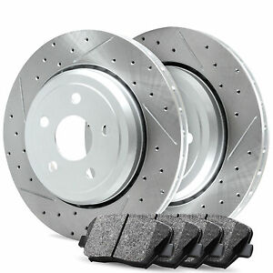 Rear R1 Carbon Drilled Slotted Brake Rotors Ceramic Pads Ford Focus 2012 2016