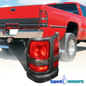 For 1994 2001 Dodge Ram 1500 2500 3500 Black Tail Lights Red Replacement