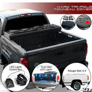Tri Fold Solid Tonneau Cover Led Lights Kit 1988 Chevy C10 Silverado 6 5 Ft Bed