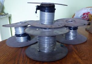 Vintage Lot Of 4 Spools Of Tinned Solid Copper Wire Bussbar Nos 9 Lbs 15oz