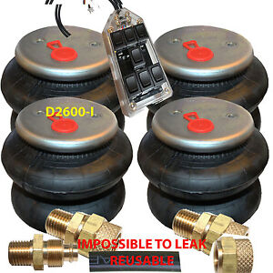 Air Ride Bags Springs 4 D I 2600 1 2 Npt 3 8 Airline 7 Switch Controller