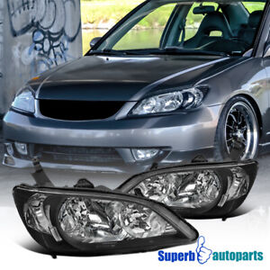 For 2004 2005 Honda Civic 2dr 4dr Jdm Diamond Headlights Lamps Black