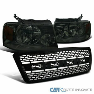 Fit 04 08 Ford F150 Smoke Headlights Head Lamps Black Raptor Style Hood Grille