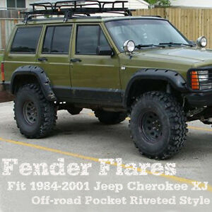 For 84 01 Jeep Cherokee Xj 4dr Pocket Rivet Style Abs Fender Flares Wheel 6 Pcs
