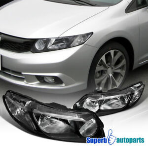 For 2006 2011 Honda Civic 4door Style Headlights Black Head Lamps Pair