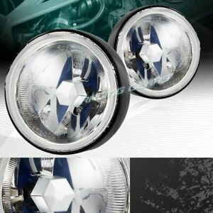 Universal 3 5 Round Chrome Housing Clear Lens Fog Driving Lights Lamps Switch