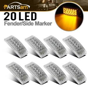 8x Led Marker Trailer Light 20led 6 X 2 12v Turn Signal Light Clear Lens Amber