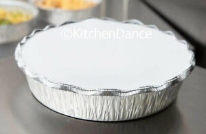 8 Round Disposable Aluminum Take Out Food Storage Pans W Board Lids 280l