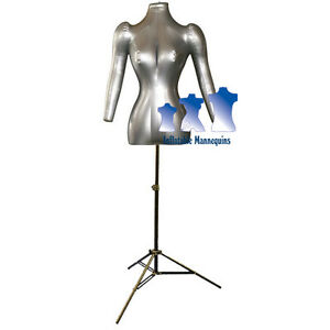 Inflatable Female Torso With Arms With Ms12 Stand Silver