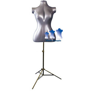 Inflatable Female Torso Mid size With Ms12 Stand Silver