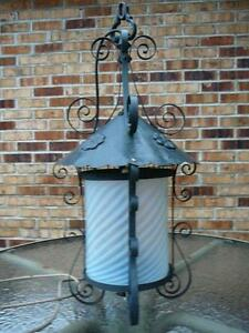 Rare Large Industrial Antique School Iron Lantern Light Chandelier