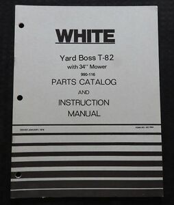 Genuine White T 82 Yard Boss Riding Lawn Mower Tractor Operators