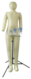 Inflatable Child Full size With Head Arms Ivory And Ms12 Stand