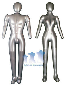 His Her Special inflatable Mannequin full size Mannequin W head Arms Silver