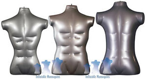 Inflatable Mannequin Male Torso Package Silver