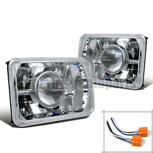 4 X 6 Chrome Diamond Cut Projector Headlights Conversion Kit H4 Bulbs
