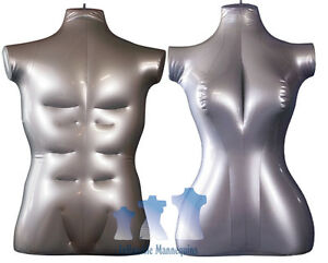 His Her Special Inflatable Mannequin Torso Forms Large Silver