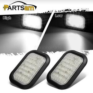 2x12 Led Truck Trailer Stop Turn Tail Reverse Lights White 5 X3 Flush Mount 12v