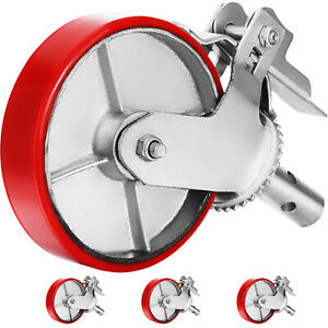 A Set Of 4 Scaffolding 8 Polyurethane Caster Wheel With Double Locking Brakes